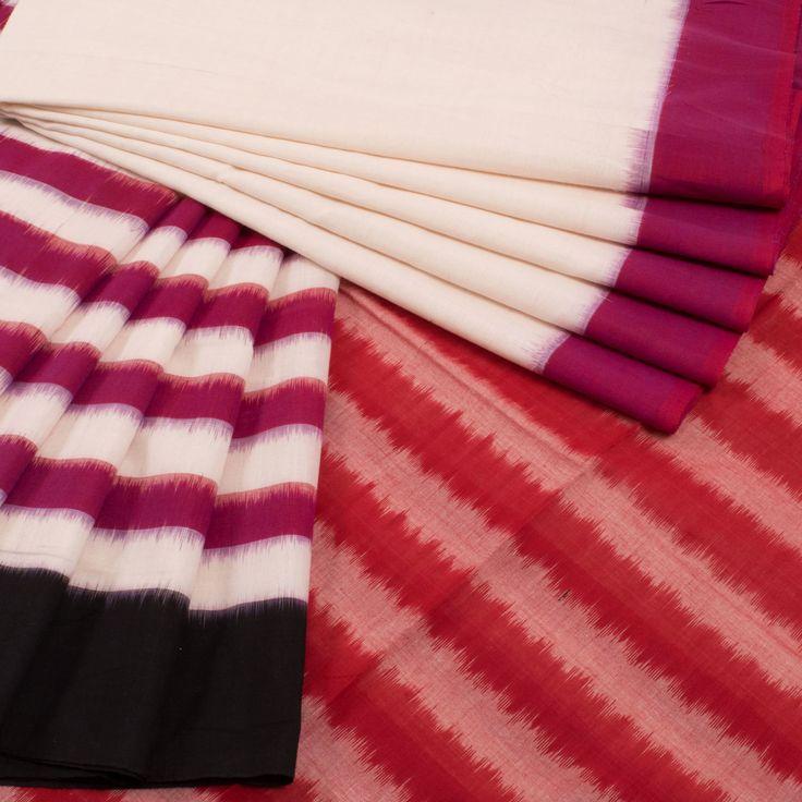 Buy online Handwoven White Half & Half Ikat Cotton Saree With Ganga Jamuna Border & Striped Pallu 10011755