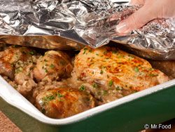 """Don't Peek"""" Chicken - What You'll Need: •1 cup uncooked long-grain rice •1 (10-3/4-ounce) can cream of mushroom soup •1 (10-3/4-ounce) can cream of celery soup •1  envelope onion soup mix (from a 2-ounce box) •1  soup can cold water •1 clove garlic, crushed •1 teaspoon chopped fresh parsley •1 teaspoon Worcestershire sauce •1  chicken (3-1/2 to 4 pounds), cut into 8 pieces   campaignIcon    • Paprika for sprinkling"""