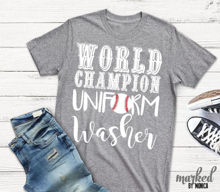 World Champion Uniform Washer T-Shirt, Baseball, Baseball Mom Shirt, Women Graphic Tee, Women graphic tee, Game Day Shirt, Custom Baseball by MarkedbyMonica on Etsy https://www.etsy.com/listing/591770043/world-champion-uniform-washer-t-shirt