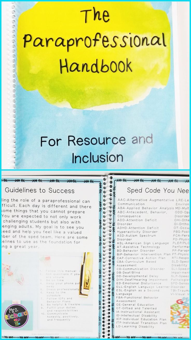 When Is Use Of Paraprofessionals >> Special Education Paraprofessional Handbook Editable When I