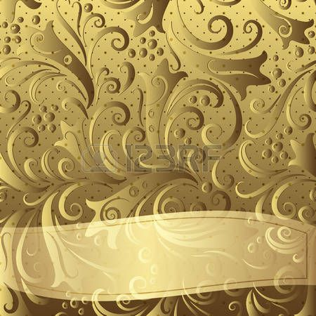 Gold vintage frame with floral pattern and translucent twisted strip  photo