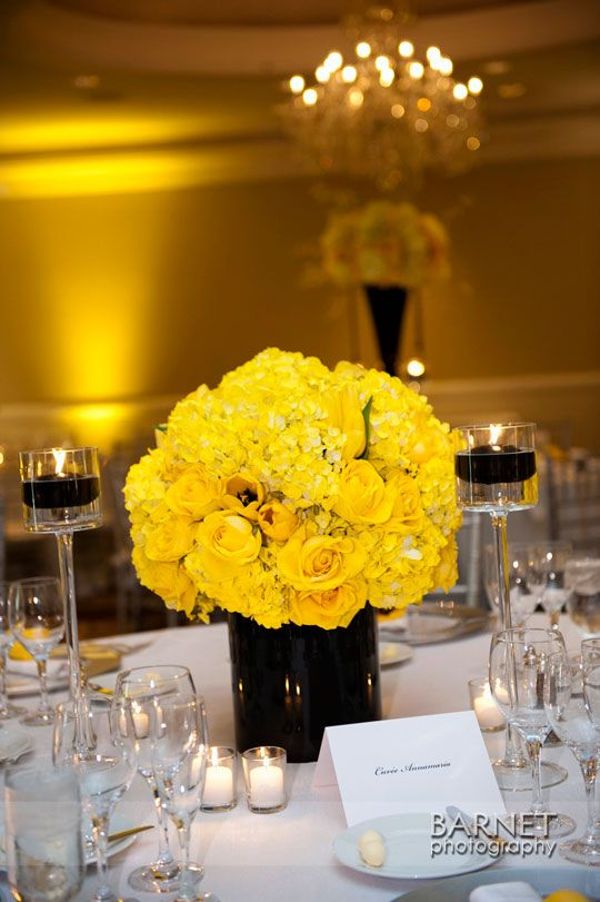 Best ideas about yellow centerpiece wedding on