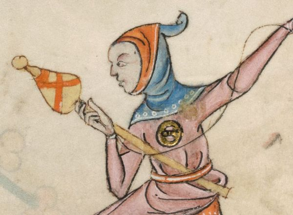 double sided hood from Luttrel Psalter (1325-1340).