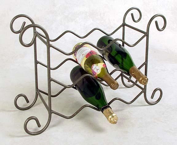 9 Bottle Wrought Iron Wine Rack