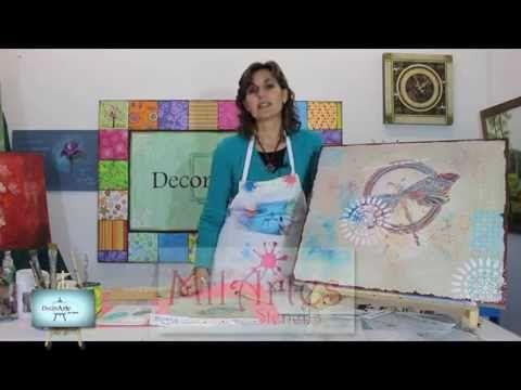 Mix Media!!!Lindisimo cuadro con diferentes tecnicas y stencils!!! nos enseña Gaby! - YouTube