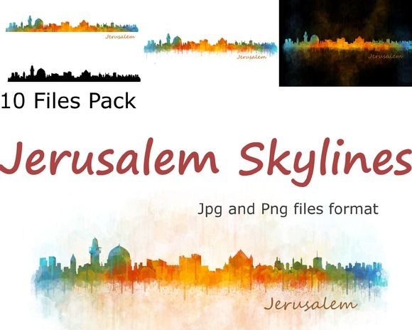 10x files Pack Jerusalem Skylines by HQPhoto Store on @creativemarket