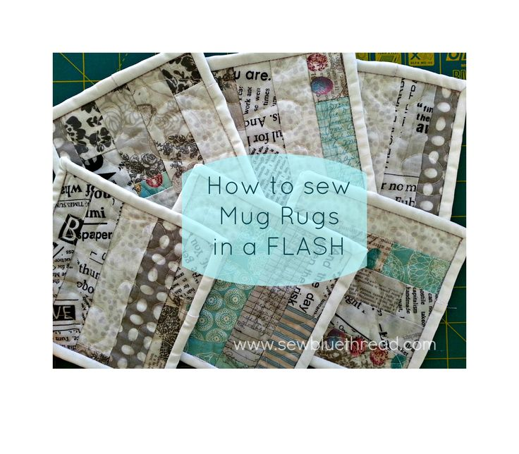Easy peasy MUG RUG in fresh colours.  Pattern found in www.etsy.com/sewbluethread