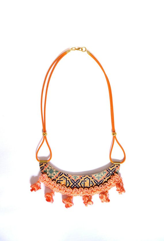 Orange tassel Pompom ethnic printed wood necklace by PROPSfashion