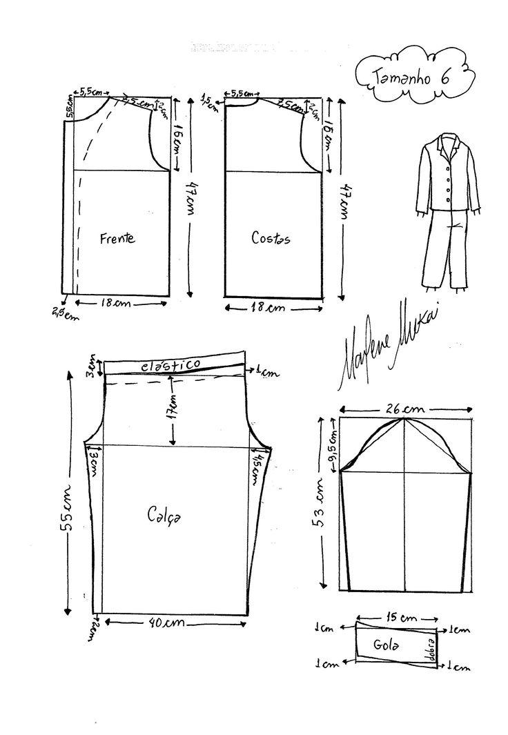 Molde de Pijama tamanho 6.