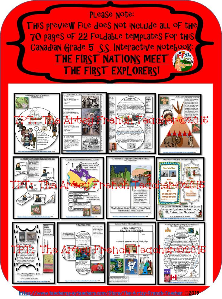 This 70 page, engaging, FIRST NATIONS MEET THE FIRST EXPLORERS (Prior to 1713) interactive notebook for the Ontario S.S.Grade 5 Curriculum from www.teacherspayte... includes 22 foldable informational templates to meet the Heritage and Identity Expectations. (French version coming soon!)