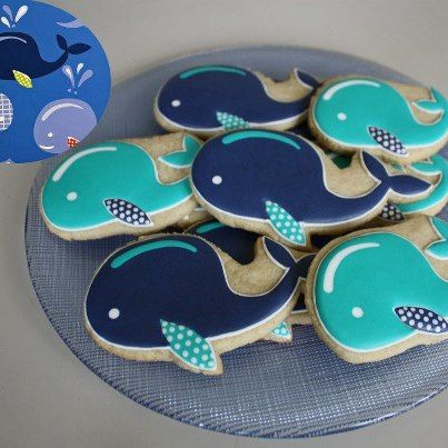 Whale biscuits - love the polka dots on the fins