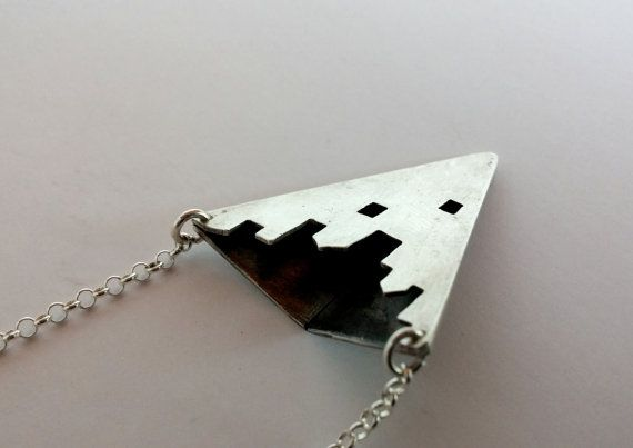 Silver triangle tower long necklace one of a by LillyOJewellery