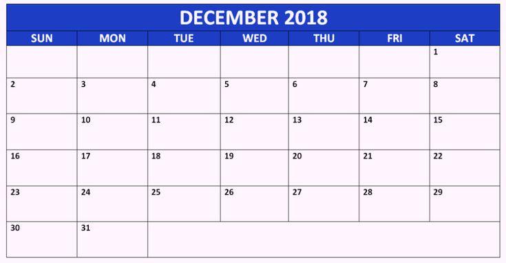December 2018 Calendar Canada Printable #CanadaCalendar