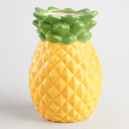 Crafted of ceramic with an embossed designed, our tropical pineapple utensil crock adds a trendy look and a pop of color to the countertop. Use it to keep whisks, spatulas and other cooking tools within easy reach without cluttering the countertop.