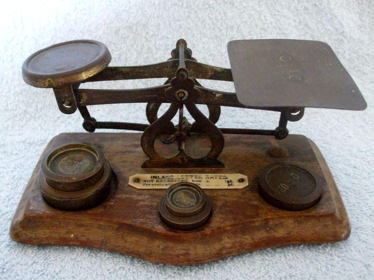 Antique English Circa 1923 Postal Scales With Weights 1/2 oz to 4 oz on Wooden Base,