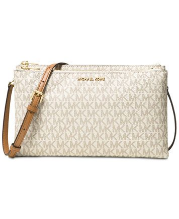 e58fc4847249 Image 1 of MICHAEL Michael Kors Signature Adele Double-Zip Crossbody ...