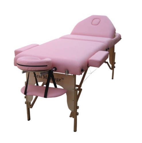 """Reiki Pink 77""""L 3"""" Pad Portable Massage Table Bed Spa Tattoo Chair Facial #BestMassage #MassageTable"""