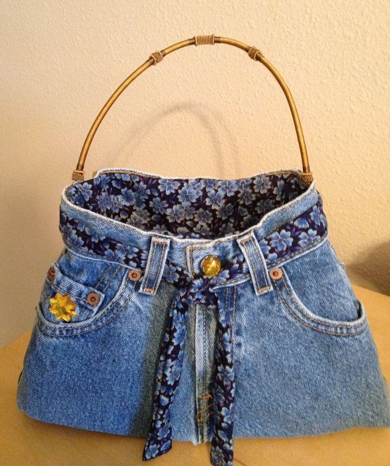 Blue and Gold Blue Jean Demin Purse by CathieJaynesDesigns on Etsy, $50.00