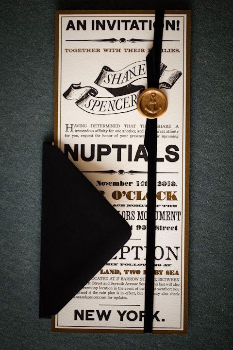 black and gold invitation.