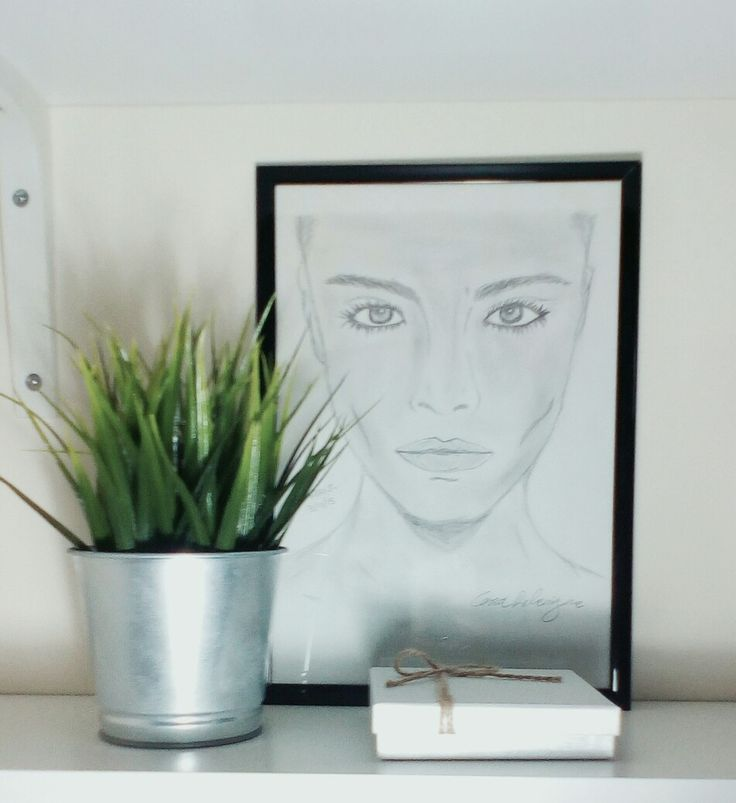 Diy decor: plant, photography woman sketch and coasters.
