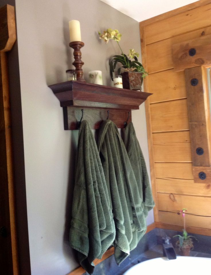 Shelf instead of a towel rack. | Decorating Ideas | Pinterest