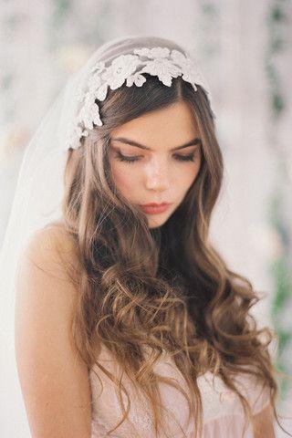 Beaded Lace Juliet Veil
