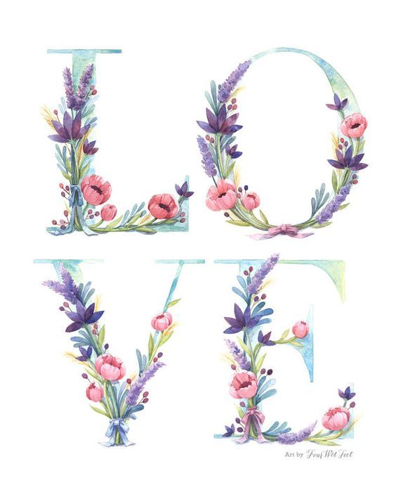 Watercolor Floral Love Art Print of watercolor by FourWetFeet, $18.00: