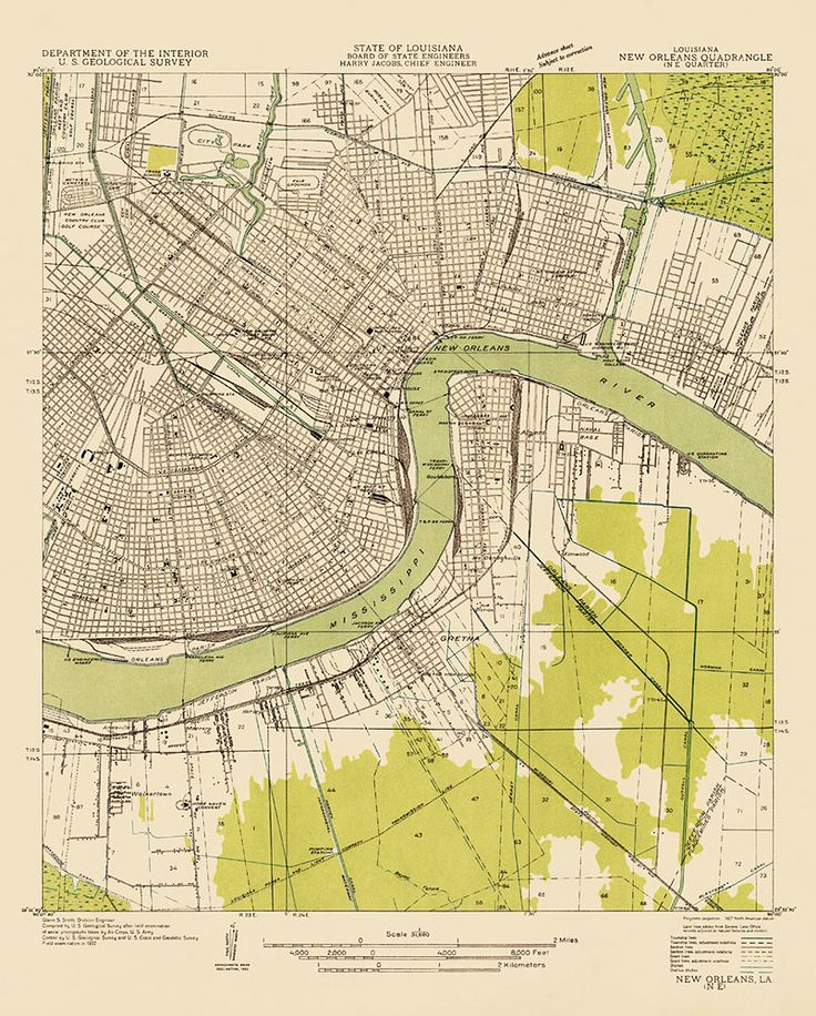 Historic USGS Topographic Map of New Orleans, from 1932