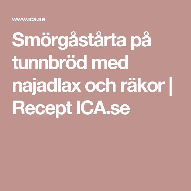 Smörgåstårta på tunnbröd med najadlax och räkor | Recept ICA.se