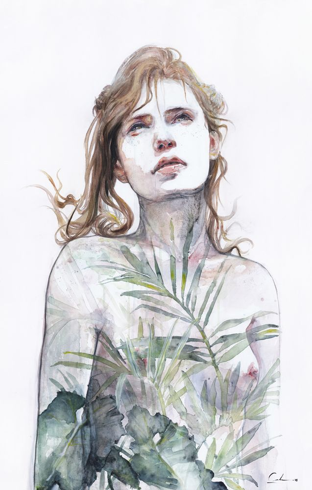 """Artist & Illustrator: Agnes Cecile """"Breath In, Breath Out"""" Watercolor and Acrylic on Canvas 120 cm x 80 cm """""""
