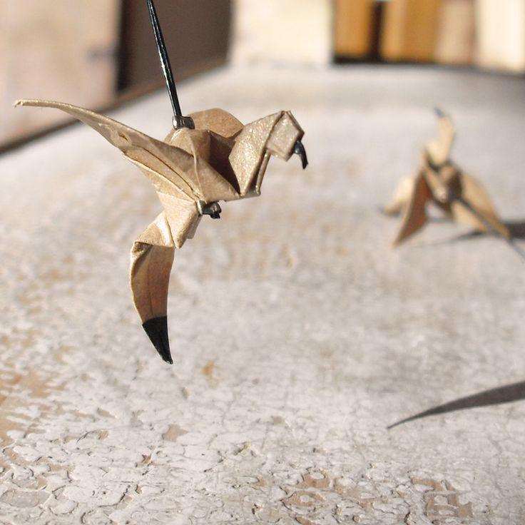 origami birds earrings #hummingbird #origami