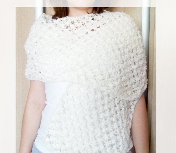 Wedding shawl crochet shawl white scarf white by MKedraHandmade