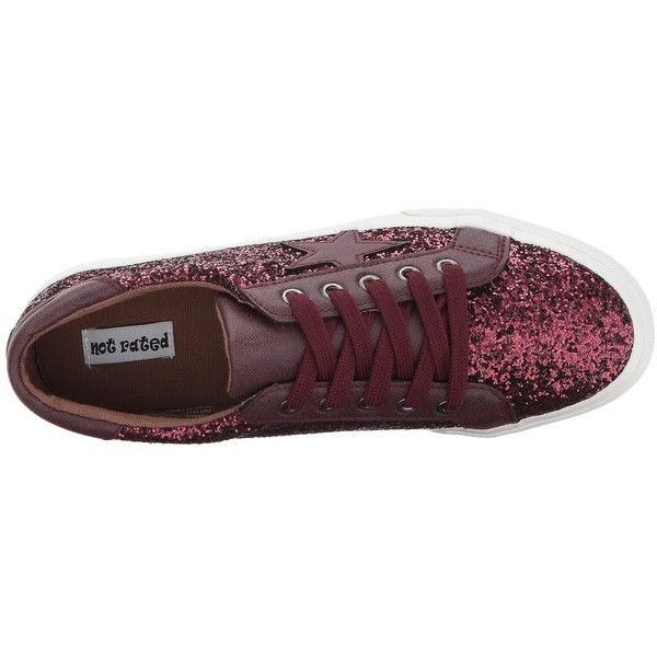 Not Rated Illana (Burgundy) Women's Shoes ($45) ❤ liked on Polyvore featuring shoes, not rated shoes, lace up shoes, embellished shoes, laced up shoes and star shoes