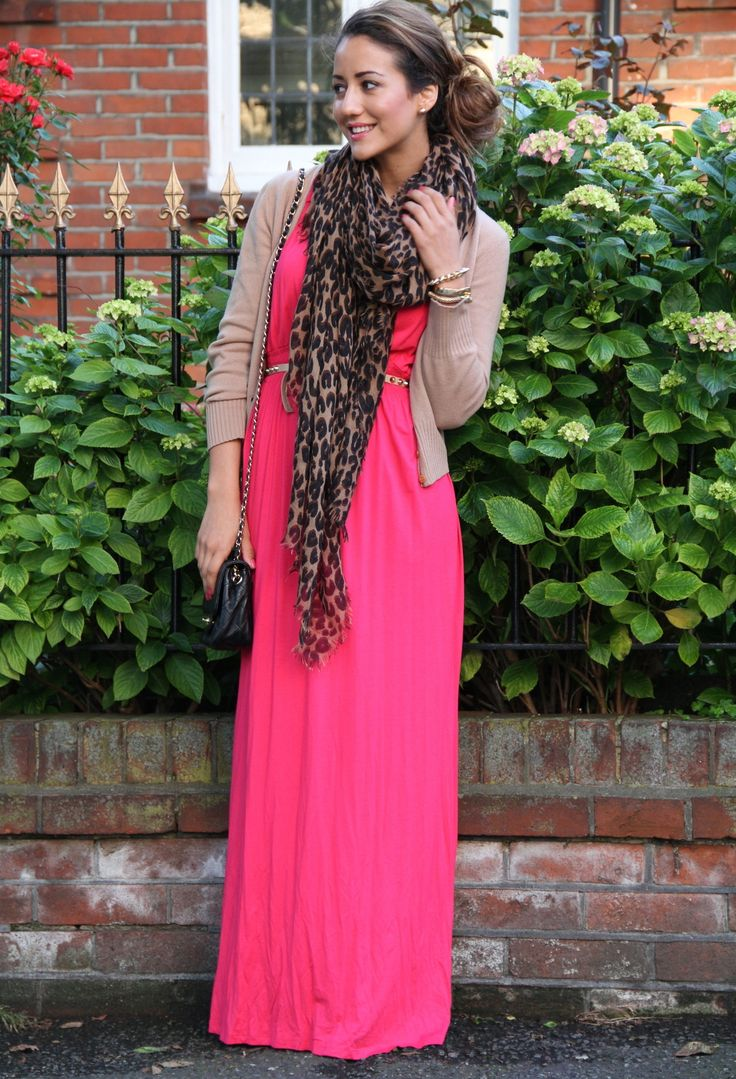 maxi dress with scarf and cardi for fall.