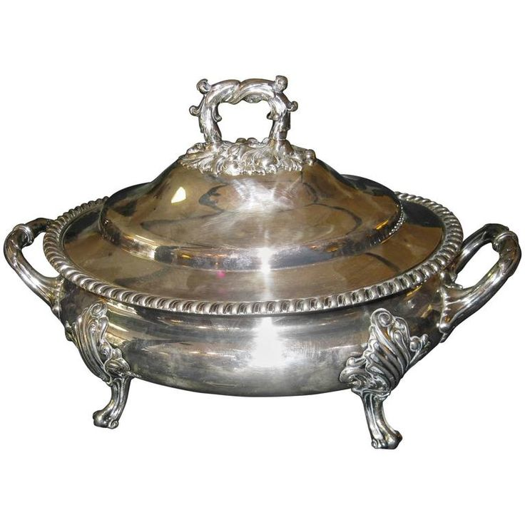 19th Century Sheffield Silver Regency Style Tureen | From a unique collection of antique and modern sheffield and silverplate at https://www.1stdibs.com/furniture/dining-entertaining/sheffield-silverplate/