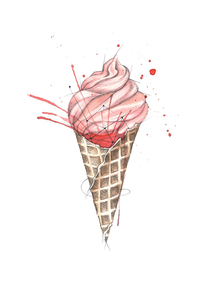 """Iskrem"" (Ice cream)  Copyright: Emmeselle.no  Illustration by Mona Stenseth Larsen"