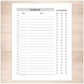 Full Page To-Do List - Level of Importance Column - Printable #Coverletters