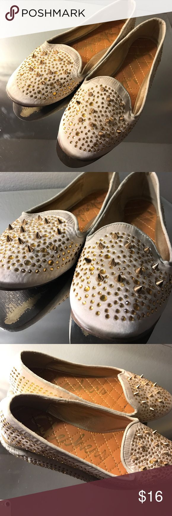Sketchers Satin Slippers Sz7B Perfect sir mid party when the heels are too much. These soft  sweet creamy slippers have an edgy side- golden crystals and spikes! Mint condition inside and out, like new. Only signs of wear are on the bottom. Skechers Shoes Flats & Loafers