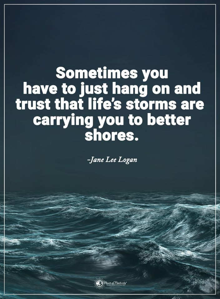 Sometimes you have to just hang on and trust that life's storms are carrying you to better shores. - Jane Lee Logan  #powerofpositivity #positivewords  #positivethinking #inspirationalquote #motivationalquotes #quotes #life #love #hope #faith #respect #trust #truth #storms #better #hangon