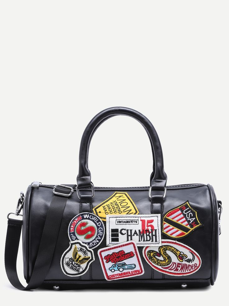 21$  Watch now - http://dinf2.justgood.pw/go.php?t=11901 - Black Faux Leather Logo Patch Barrel Bag 21$