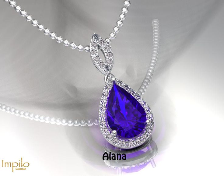 """""""Alana"""" - Gorgeous pear shaped tanzanite surrounded by round brilliant cut diamonds and diamonds on the bail."""