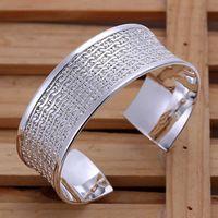 B048 Высокое качество Посеребренные и Штампованные 925 большой манжеты с тонкая сетка манжеты браслет для женщин манжеты старинные ювелирные изделия whosales