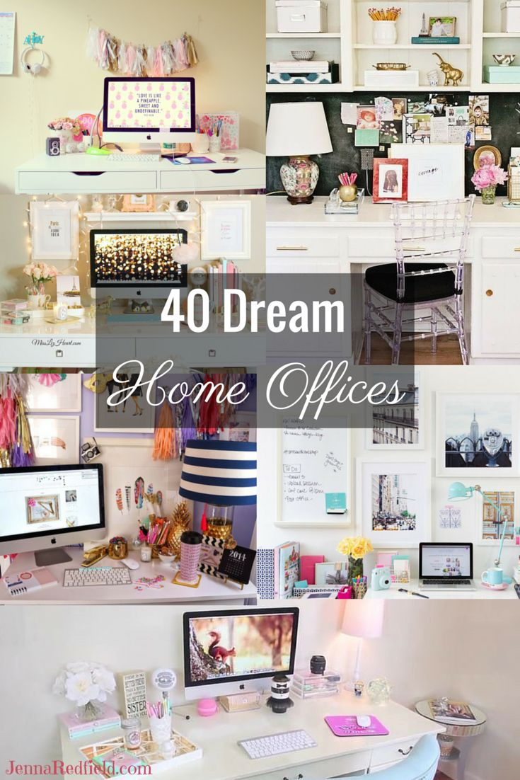 A curated collection of 40 Dream Home Offices found on Pinterest, Tumblr and Various Blogs. Also included is my own home office.