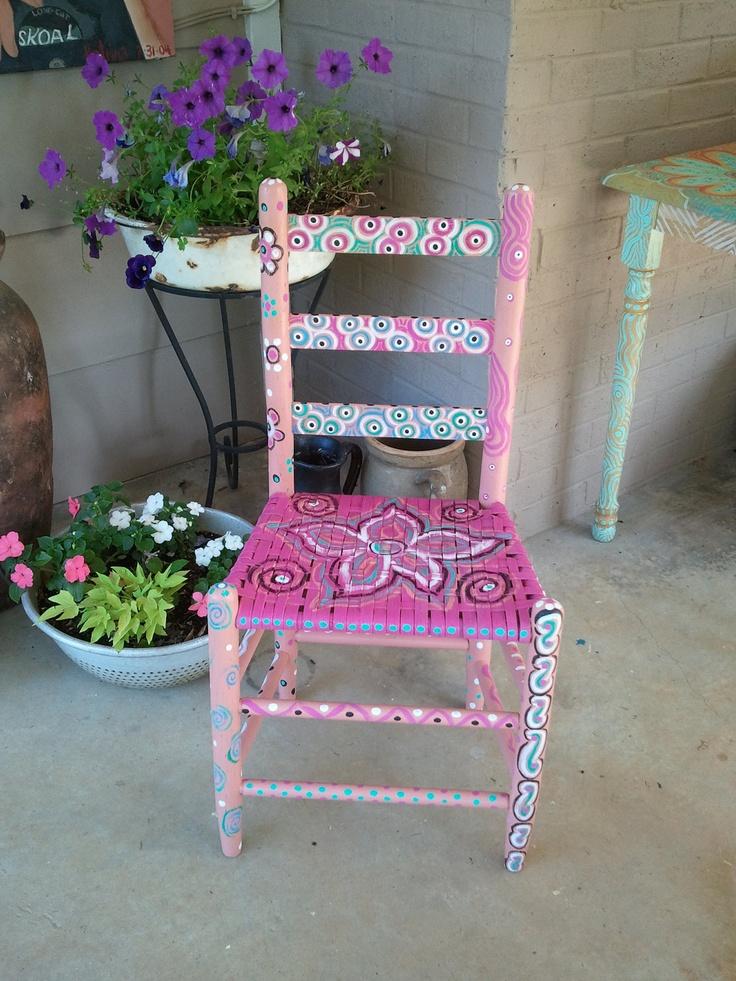 Folk Art Painted Ladder Back Chair 95 00 Via Etsy