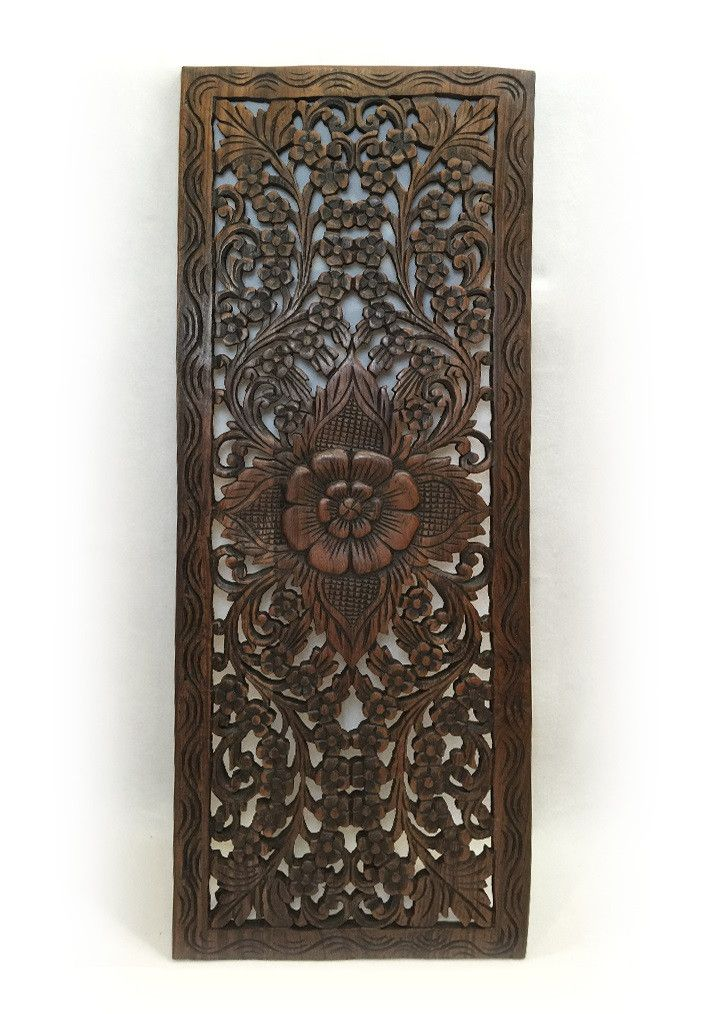 Wood Flower Wall Decor : Best asian home decor carved wood wall