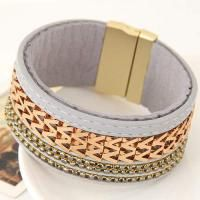 Metal W Letter Shape Weaving Decorated Multilayer Design Gray