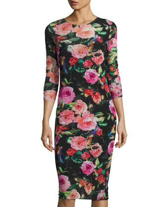 Floral-Print Mesh 3/4-Sleeve Dress, Multi Pattern by Neiman Marcus at Neiman Marcus Last Call.