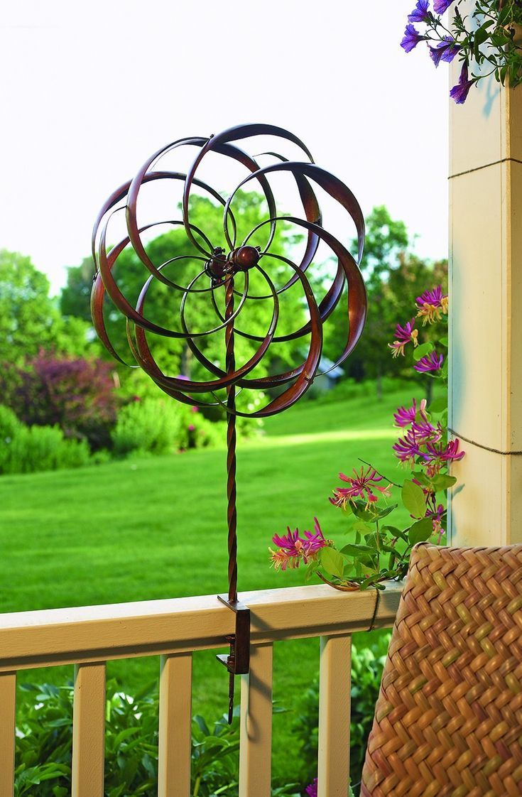 Flower Clamp Kinetic Wind Spinner Garden Yard Metal Art Spinners Treat Your Deck Porch Or Patio To A Stunning Sculpture