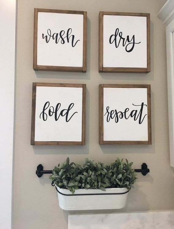 Laundry Room Sign Laundry Sign Wash Dry Fold Repeat Sign Reclaimed Wood Sign Mudroom Signs Laundry Room Wall Decor Fixer Upper