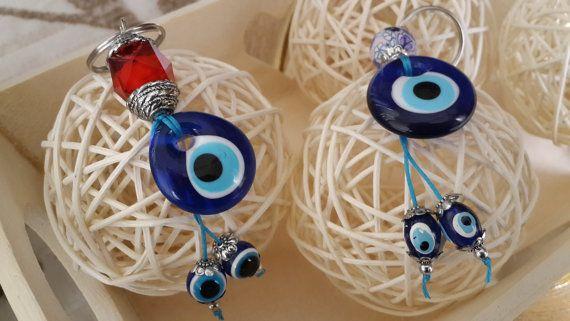 Set of 2 Evil Eye Key Chains Handmade Turkish glass by Myowncoffee